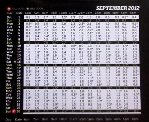 2012年9月バリ島タイドチャート