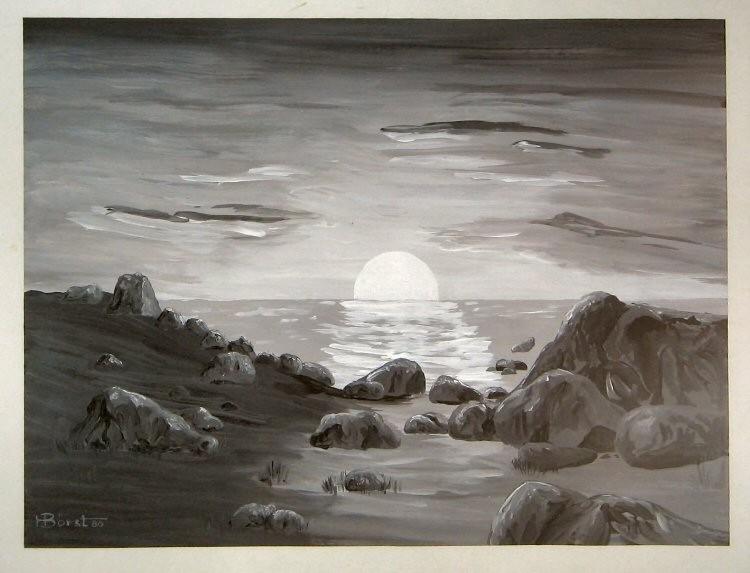 Abend am Meer  Plaka  ca.40x50 cm
