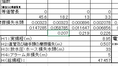 """摩擦損失水頭""の合計"
