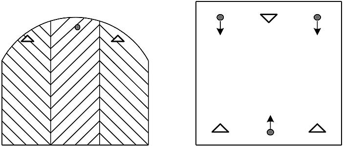 アーチ,ドーム形の天井等の光電式分離型感知器の設置例