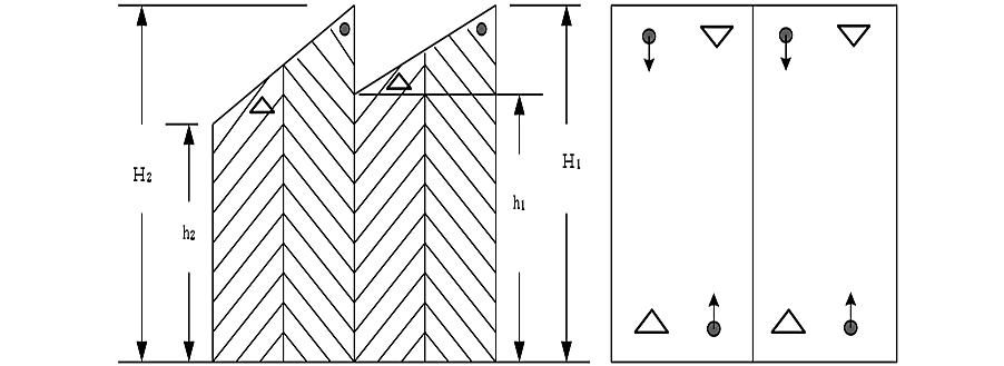 のこぎり形天井等の光電式分離型感知器の設置例