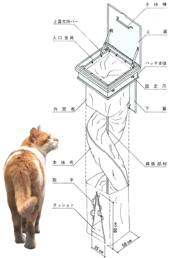 垂直式救助袋の構造図