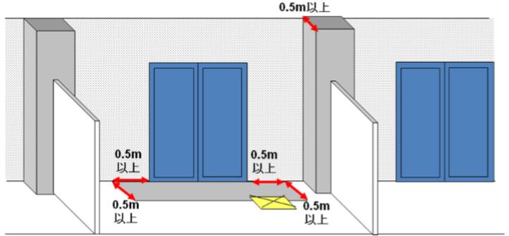 避難ハッチ部分を含めて耐火構造のひさしとみなす場合