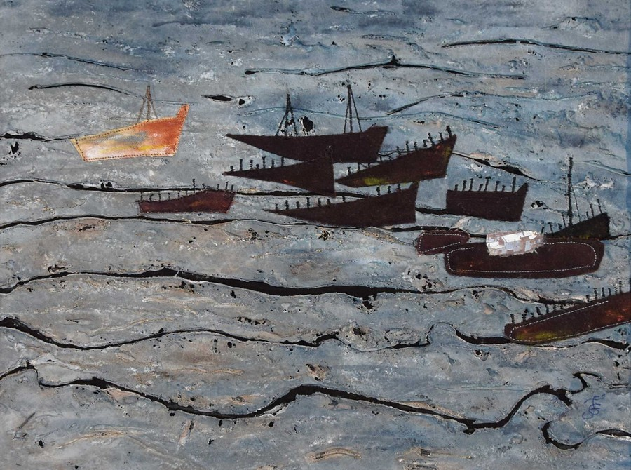 """""""cimetière de bateaux - Lutradur"""" Françoise GRALL 50x50"""