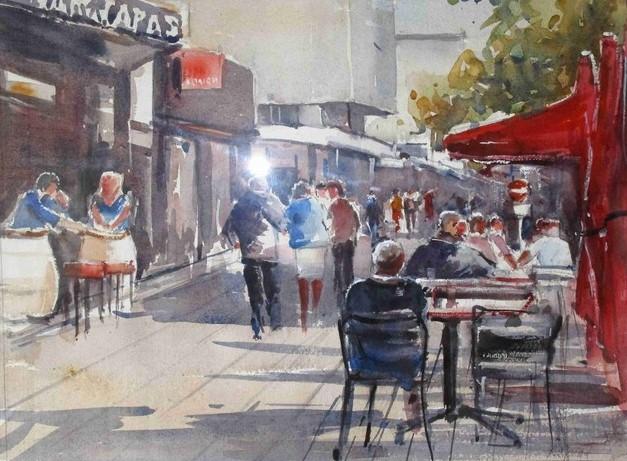"""""""Lorient centre"""" René JARDEL aquarelle 50x40"""