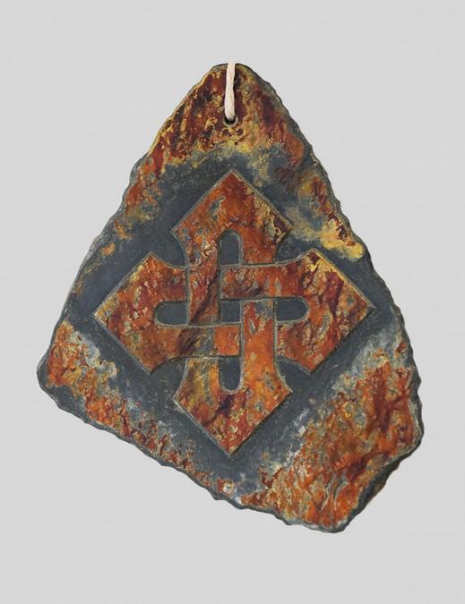 """croix irlandaise C "" Jean CRENN ardoise 25x25"