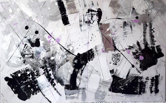 """""""Composition"""" Dominique SARRAT acrylyque sur toile 130x81"""
