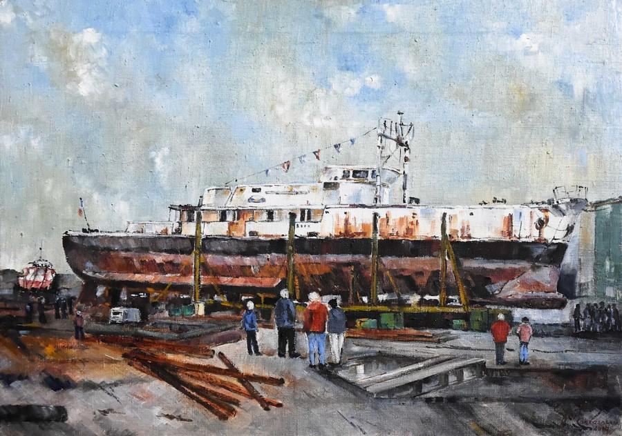 """""""la Calypso à Concarneau"""" Roger PERTHUIS huile 61x46"""