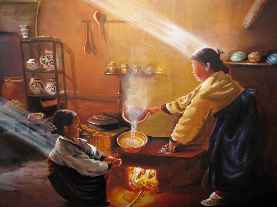 "Anne Marie PENAMEN ""cuisine chinoise"" huile 50x70"