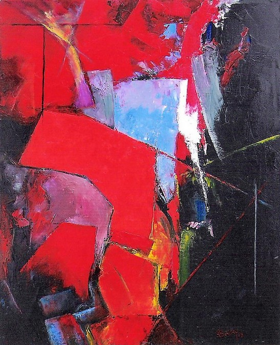 """""""Composition 115"""" Pierre BOUTRY huile 100x81"""