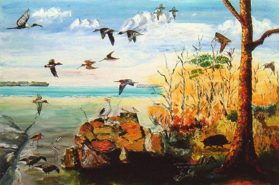 "Michel FLEURY ""Oiseaux du golfe"" huile"