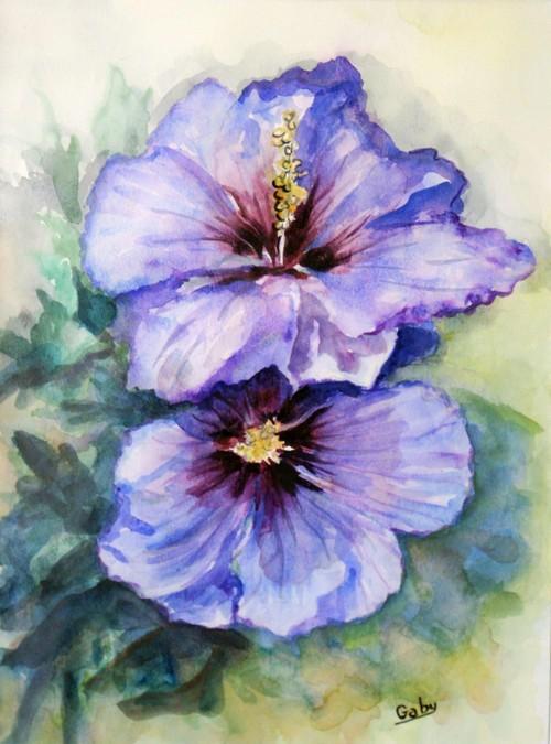 """""""Hibiscus""""  Gaby DENYS aquarelle"""