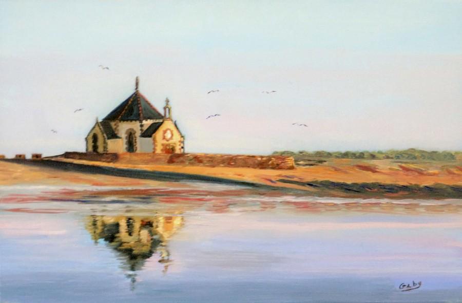 """""""Reflets de la chapelle Penvins""""  Gaby DENYS huile"""