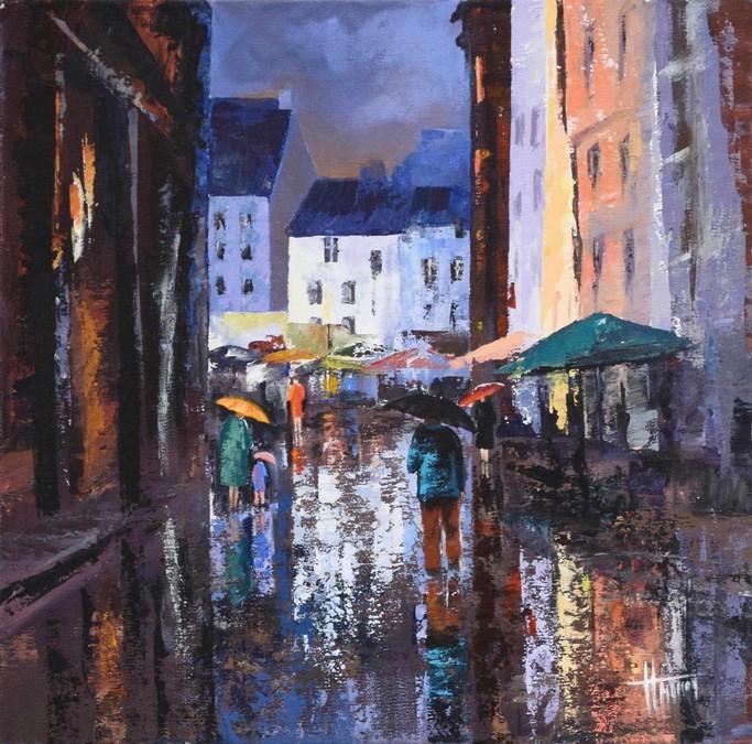 """""""rue sous la pluie"""" Huguette MARTINIERE acrylique 40x40"""