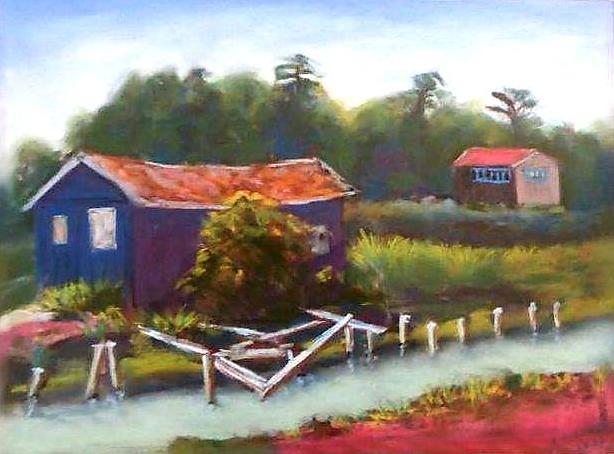 """Cabanes ostréicoles"" Alain GERMAIN ROBIN pastel sec 40x50"