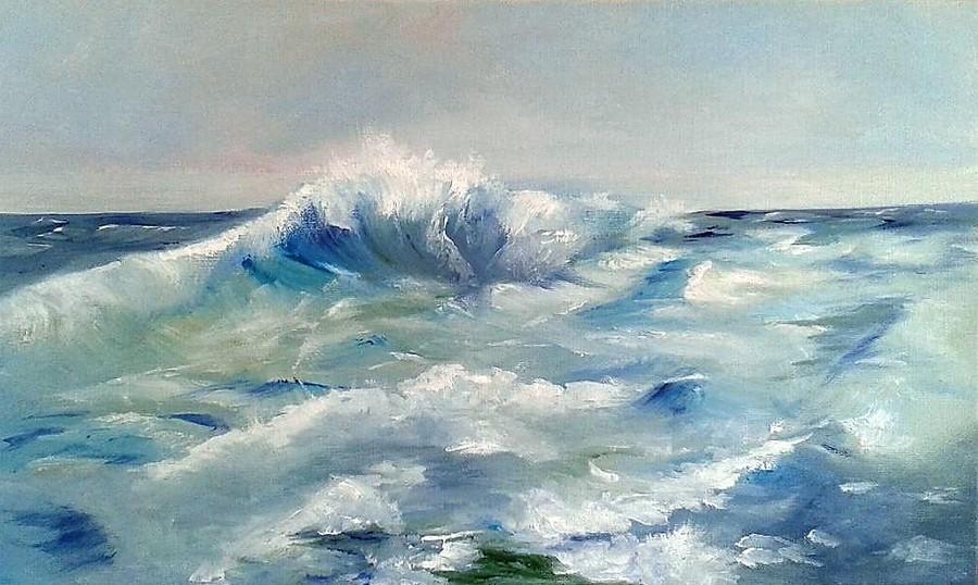 """""""la vague"""" Ivy MANDEREAU huile 55x33"""
