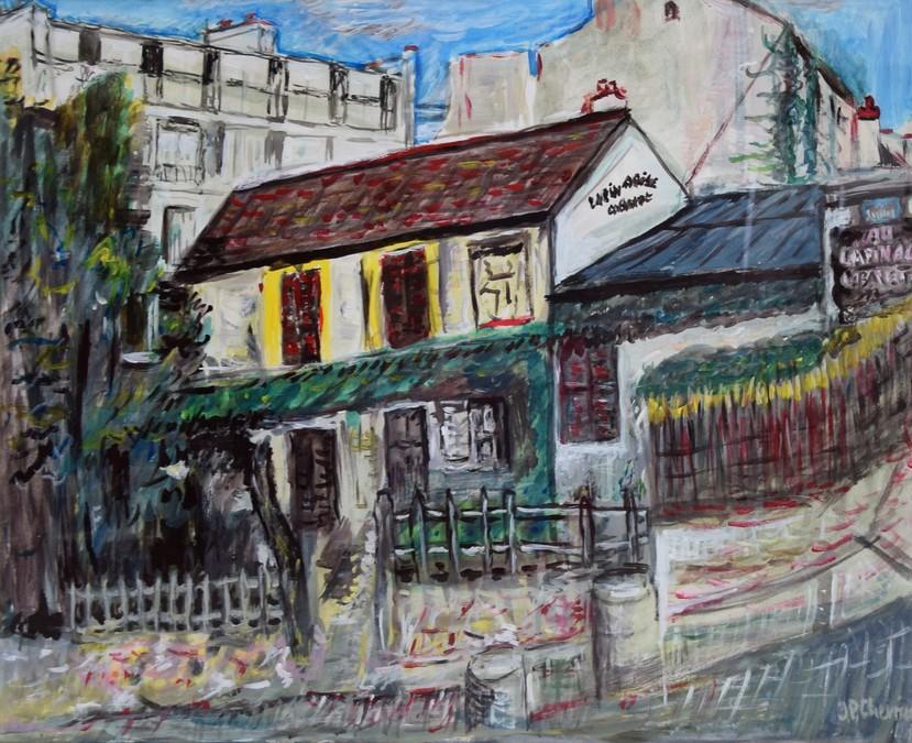 """""""La Lapin agile - Paris""""  JP CHEVRIER huile 73x58"""