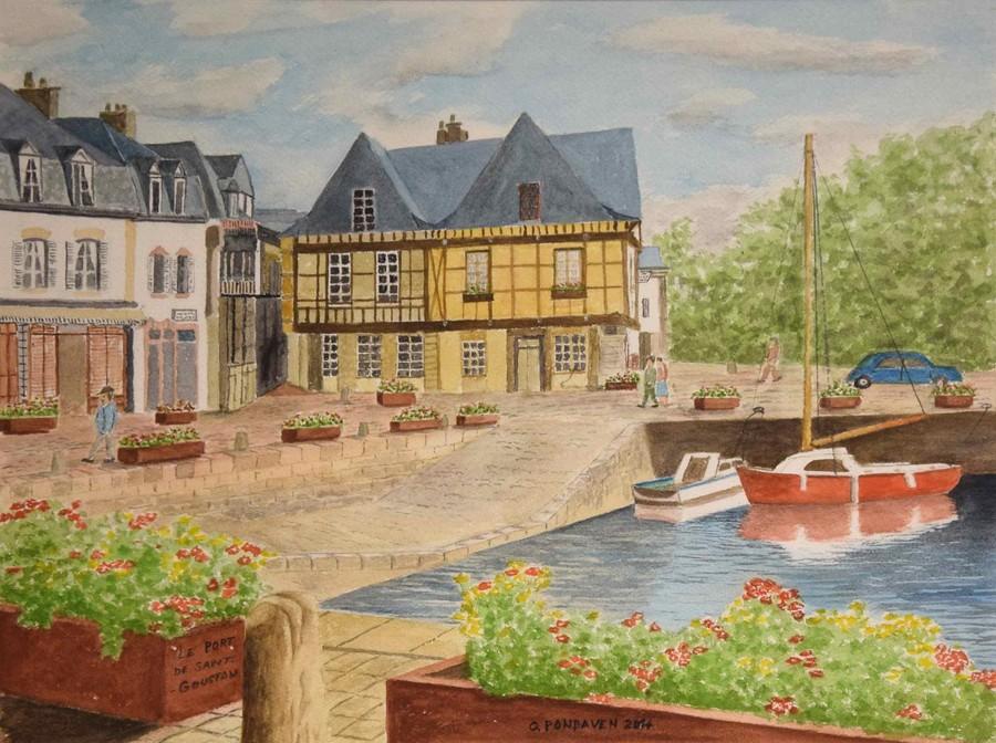 """""""le port de Saint Goustan à Auray"""" Georges PONDAVEN aquarelle 40x30"""