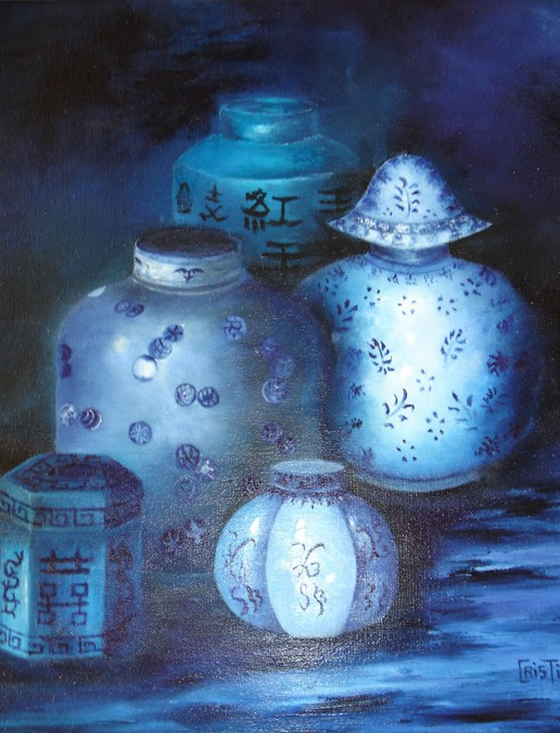 """""""bleu"""" Christiane MOREAU huile"""