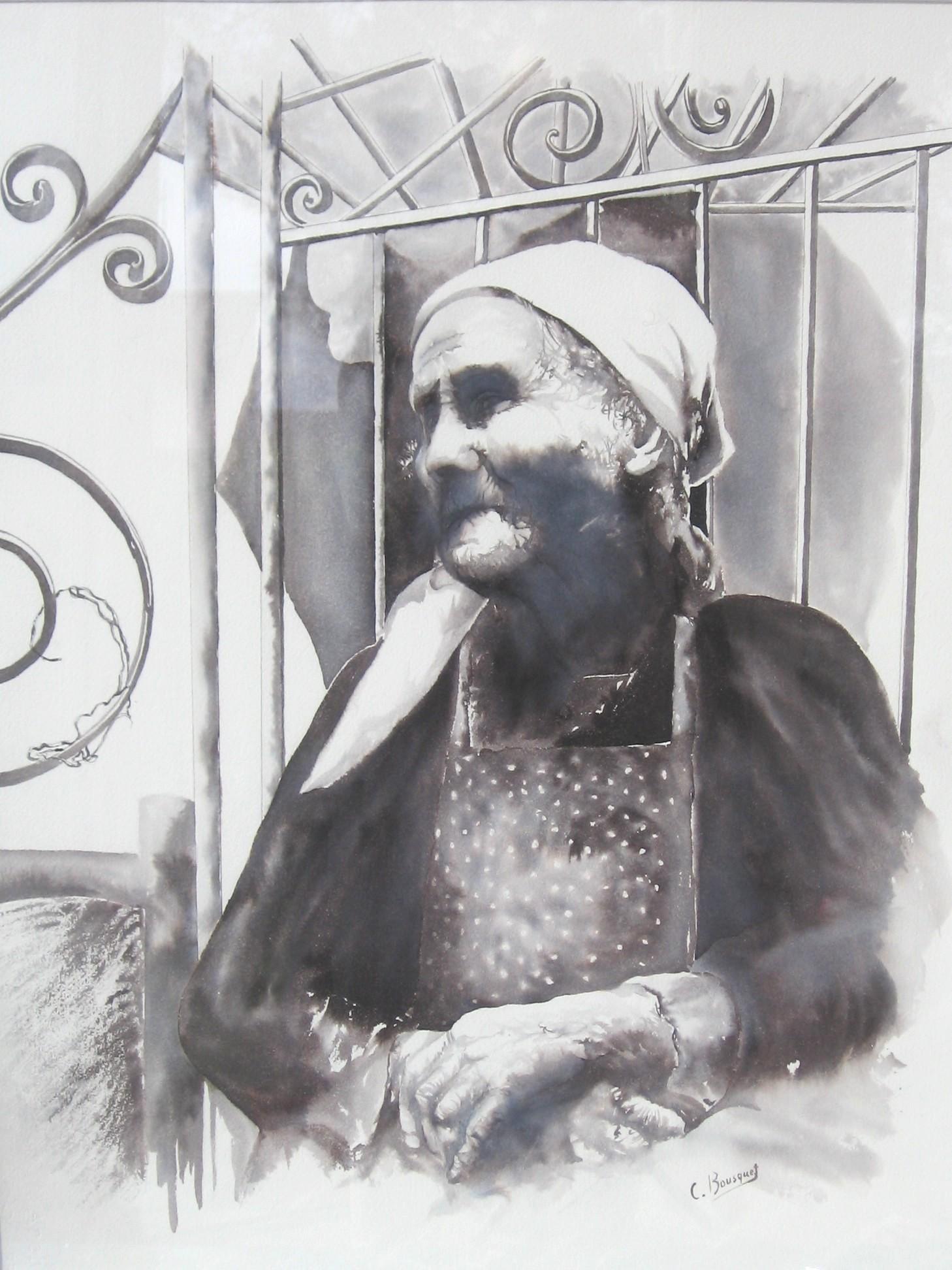 """Claudie BOUSQUET """"Terre"""" encre d'aquarelle"""