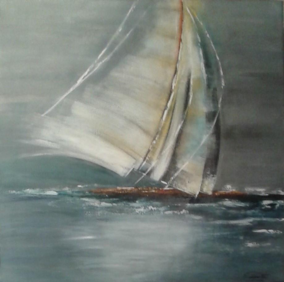 """""""Le voilier"""" acrylique de Michelle PASSEROTTE"""