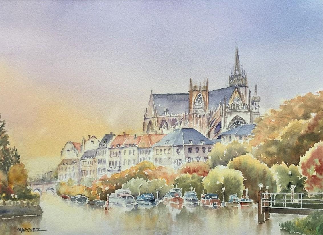 """Metz"" aquarelle de François BONHARME"