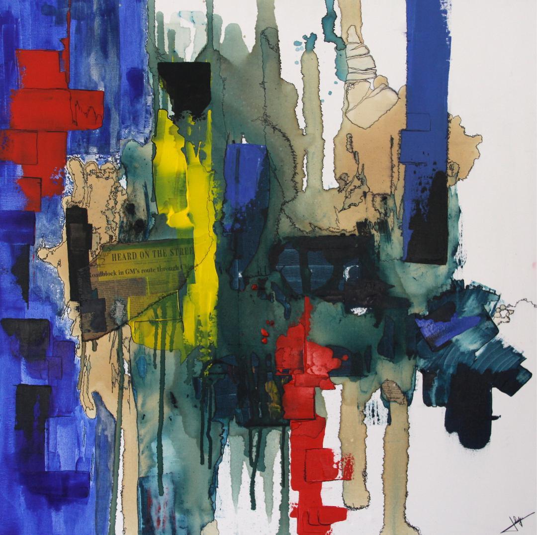 """""""Méandre"""" Sophie LAHAYE (acrylique) 100x100"""