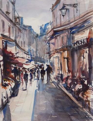 """paysage urbain"" René JARDEL aquarelle 50x40"