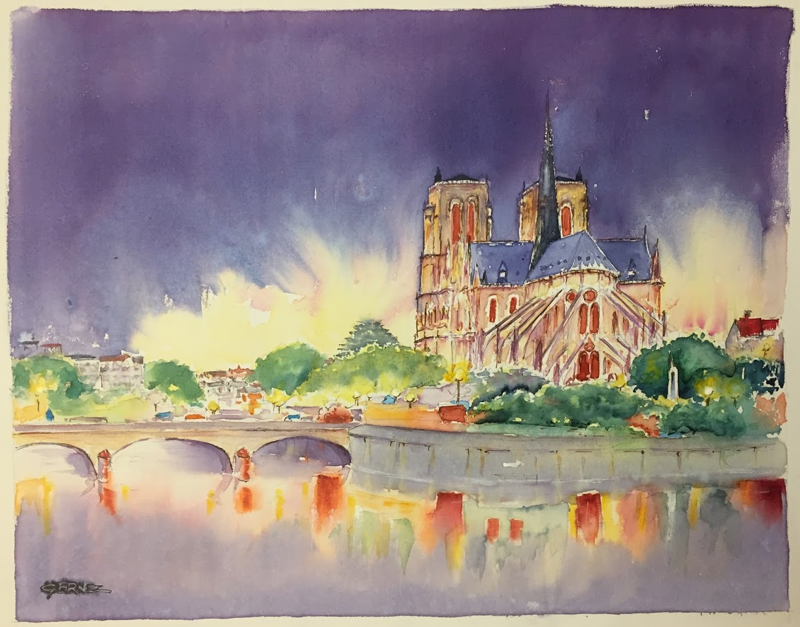 """""""Paris brule-il ?"""" aquarelle de François BONHARME"""