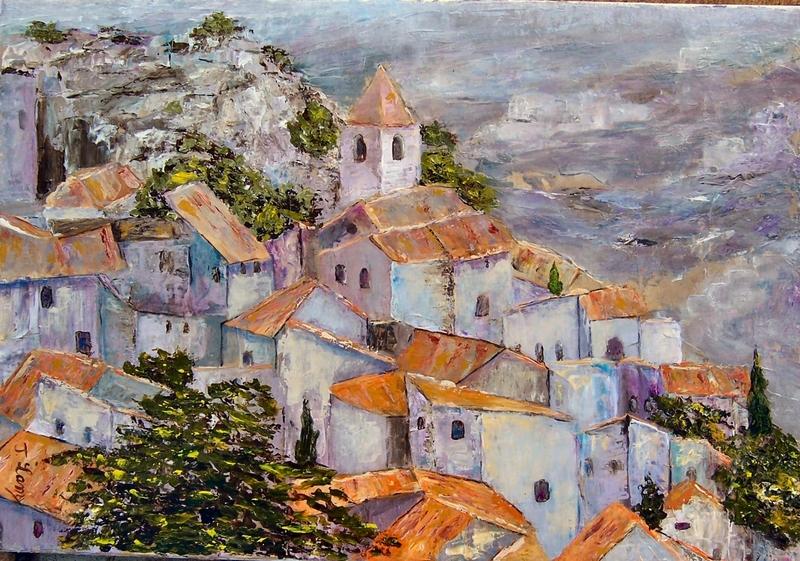 """""""Les baux de Provence"""" Josie LAMY (huile)"""