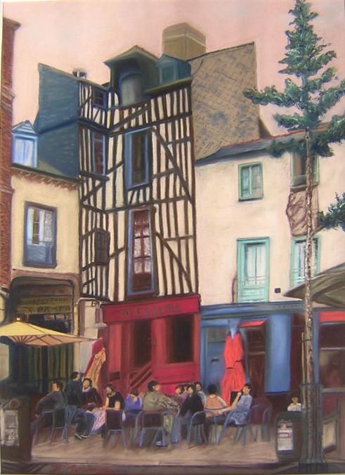 """""""place à Rennes"""" JP MARTINIERE pastel 70x50"""