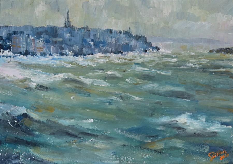 """""""tempête sur St Malo"""" Roger PERTHUIS huile 46x33"""