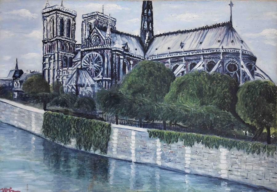 """""""Notre Dame de Paris""""  JP CHEVRIER huile 80x60"""