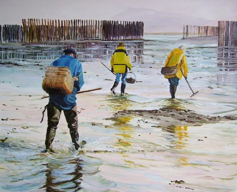 """""""La pêche à pied"""" Sabine VALLEE 61x50"""