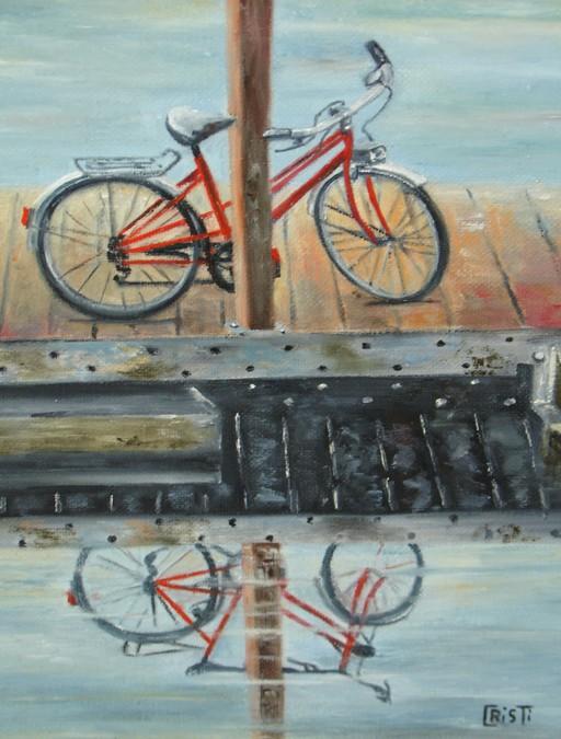 """Le vélo rouge"" Christiane MOREAU huile"