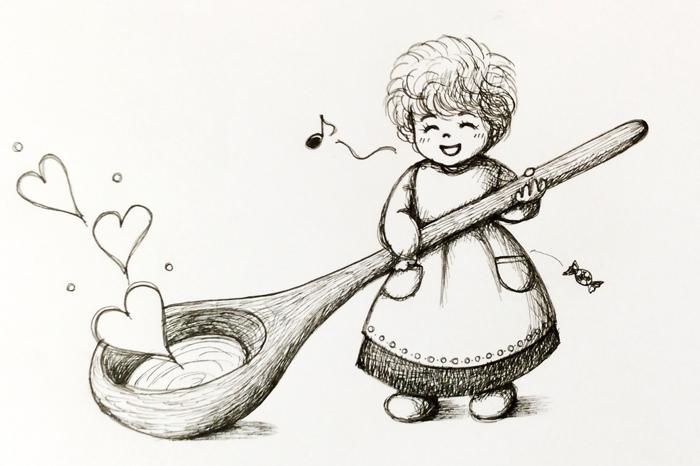アトリエ絵くぼ 線画 妖精 スプーン