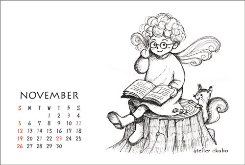 アトリエ絵くぼ 2017年卓上カレンダー11月