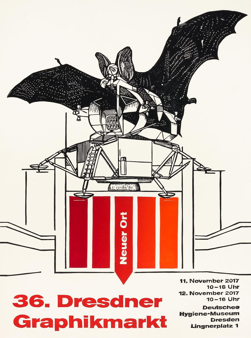 Plakat 36. Dresdner Graphikmarkt 2017, Stephanie Marx, Linolschnitt