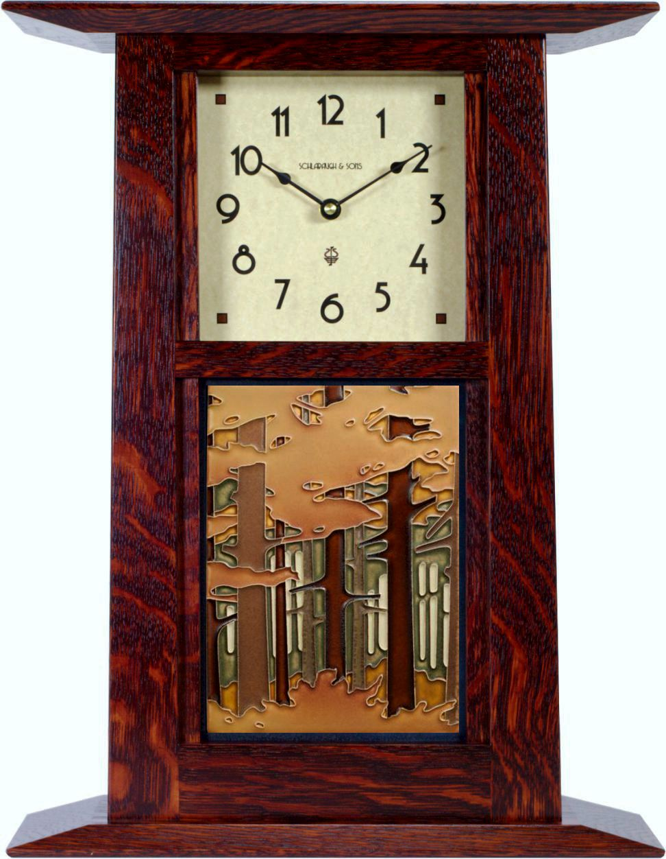 craftsman wall or mantel clock made in solid cherry w/choice of 6x8 motawi  tile. #cwt-68-ch