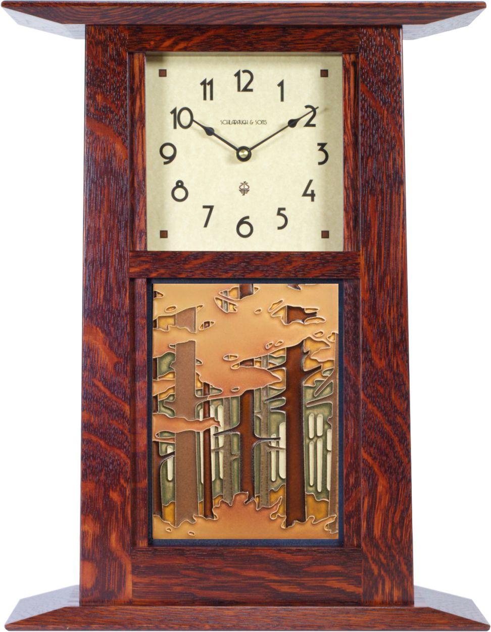 Arts and crafts mantle clock - Prairie