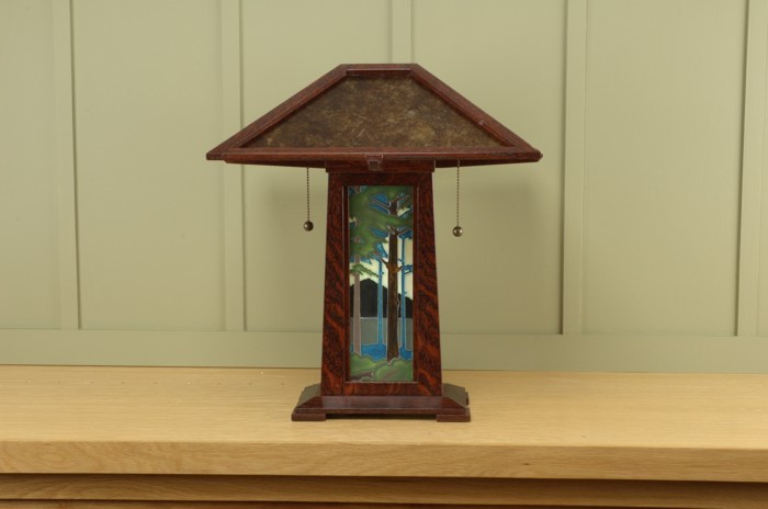 Arts Crafts Table Lamp With Craftsman Oak Finish