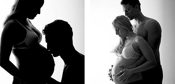 Fotos vom Babybauch mit dem Partner zusammen fotografiert im Fotostudio Hannover