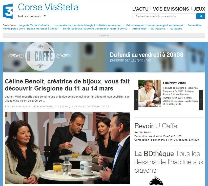 """Dans l'émission U Caffé, Laurent Vitali accueille cette semaine du 10 au 14 mars 2014 Céline Benoit, la créatrice de bijoux porte-bonheur traditionnel corse """"Zia Antonia""""."""