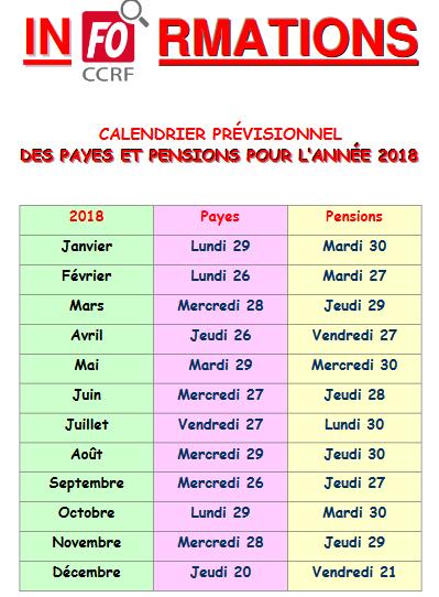 Calendrier Pension.Calendrier Previsionnel Des Payes Et Pensions 2018 Site De