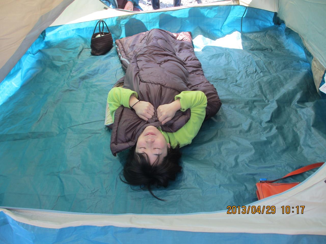 避難時のテントとう~み ちゃん