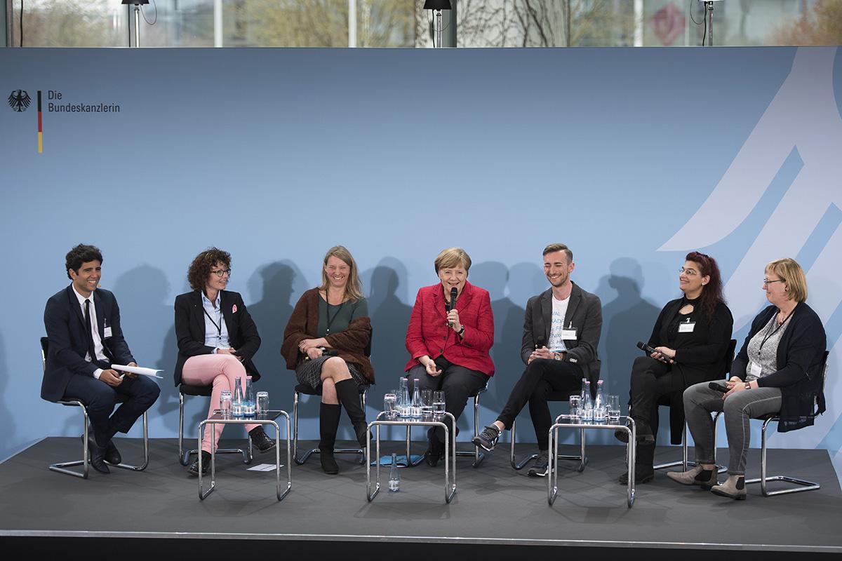 Zu Gast bei Frau Merkel. Foto: Bundesregierung, Guido Bergmann