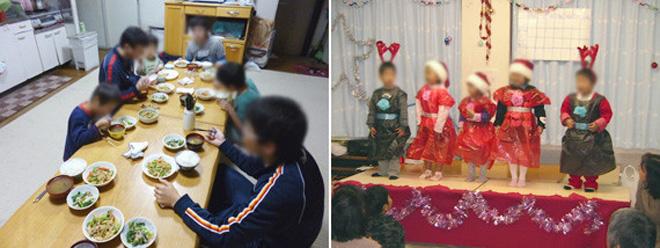 左:夕食風景 右:全ての子どもと職員が集まるクリスマス会