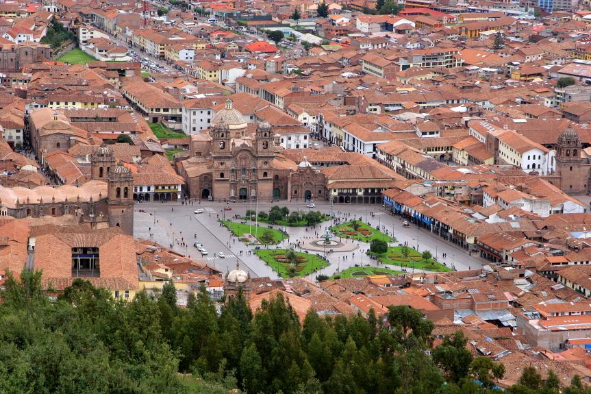 Kusko miestas Anduose Peru - buvusi Inkų imperijos sostinė