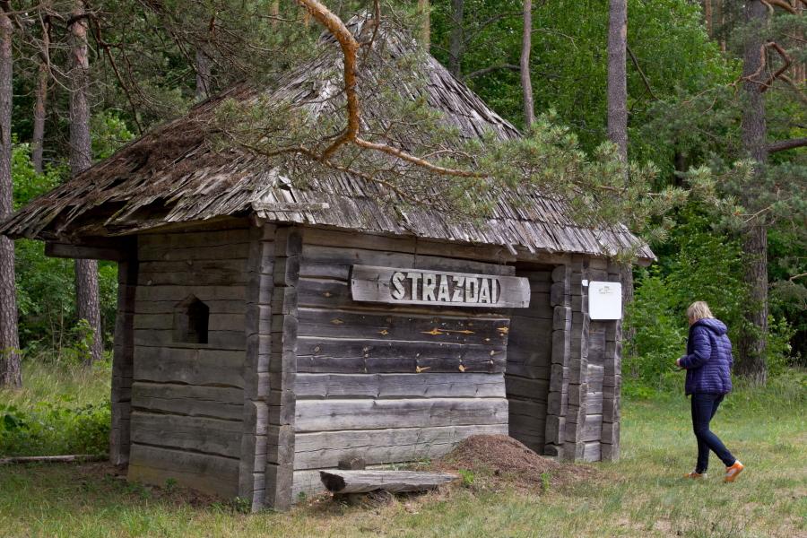 Etnografinio Strazdų kaimo autobusų stotelė Aukštaitijos nacionaliniame parke