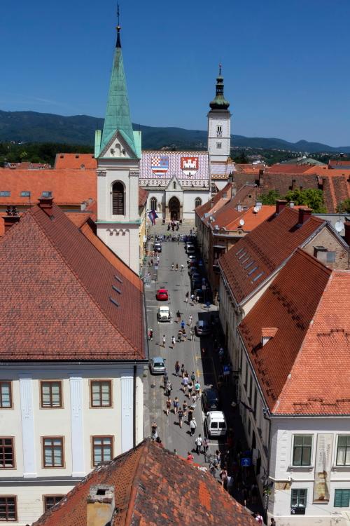 Vaizdas pro Lotrščak bokšto langą Zagrebe